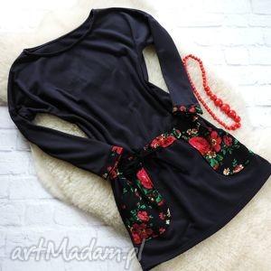 sukienki dresowa sukienka tunika folk folklor cleo kwiaty, sukienka, tunika
