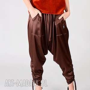 spodnie satynowe alladynki z marszczeniem, satynowe, pumpy, alladynki, luźne