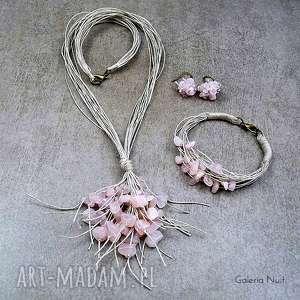 Kwarc różowy - komplet biżuterii, delikatny, jasny, kobiecy, pastelowy, kwarc, len