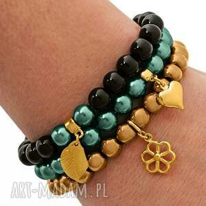 black jade golden hematite & emerald pearl set - czarne bransoletki, perełka