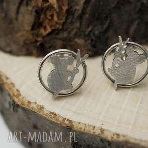 srebrne kolczyki misie koala ii, koala, srebro, kolczyki, mini, sztyfty, boho