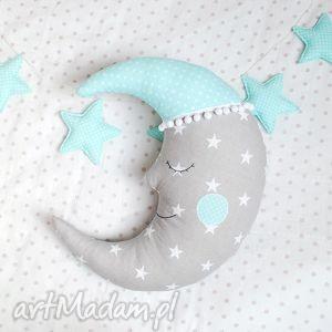 księżyc poduszka - poduszka, zabawka, księżyc, śpioch, gwiazdki