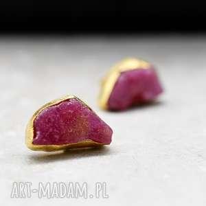 925 Srebrne kolczyki pozłacane18k złotem z rubinem *LINIA PREMIUM *, rubin, kamień
