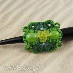 mela spinka sutasz olivin klamra, spinka, sutasz, soutache, wiosna, kwiaty