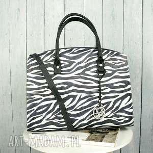 hand-made klasyczna torebka w stylu biznesowym kuferek animal print zebra eko skóra
