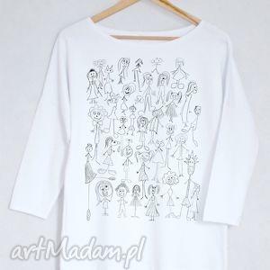 JESTEŚMY DZIWNI bluzka bawełniana oversize L/XL biała, bluzka, koszulka, biała