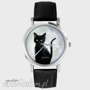 ręczne wykonanie zegarki zegarek, bransoletka - czarny kot, szary - czarny, skórzany