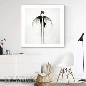 grafika 70x70 cm wykonana ręcznie, plakat, abstrakcja, elegancki minimalizm, obraz