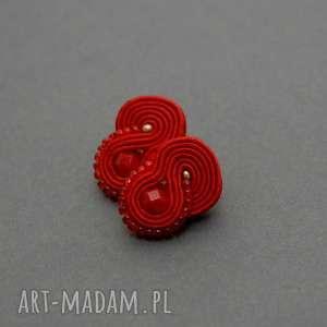 sisu czerwone kolczyki sutasz, sznurek, eleganckie, małe, koraliki, delikatne