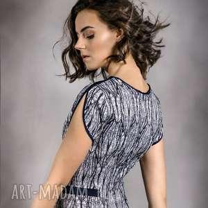 sukienka motyl, wzór, granat, elegancka, koktajlowa, casual