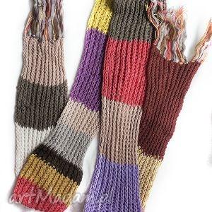 długi szalik kolorowy z włóczki - szalik, długi, włóczka, druty