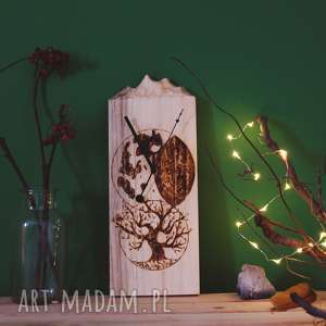 Drewniany zegar ścienny [góry i pirografia], drewno, drzewo, księżyc, folk, etno,