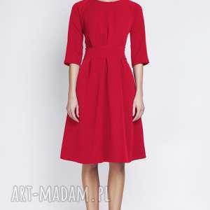 Sukienka z rozkloszowanym dołem, SUK122 czerwony, rozkloszowana, elegancka, casual