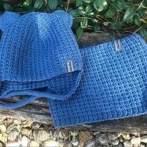czapka i komin, czapka, na drutach, dzieci, niebieski