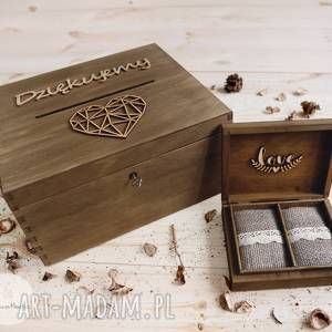 ZESTAW ŚLUBNY - PUDEŁKO NA KOPERTY I OBRĄCZKI 2, pudełko-na-koperty, drewniane, ślub,