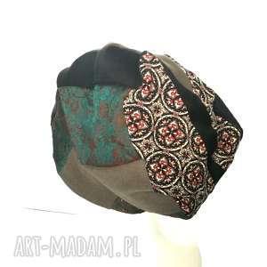 ręczne wykonanie czapki czapka patchwork smerfetka dresowa dzianina boho