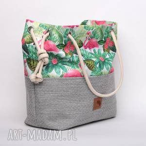 torebka worek we flamingi palmy rączki ze sznurka, kolorowa, wzorzysta, wzór