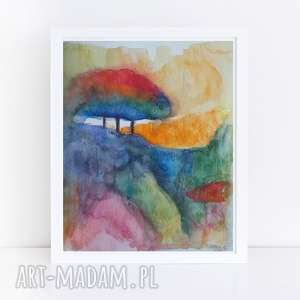 Abstrakcja z drzewem-akwarela formatu 18 24 cm paulina lebida