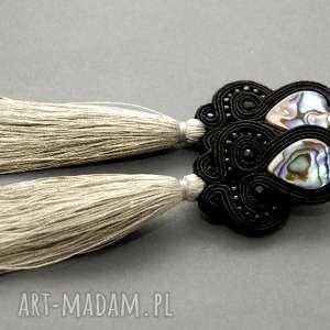 klipsy sutasz z muszlą paua, sznurek, eleganckie, wiszące, wieczorowe, długie,