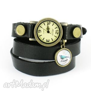 Prezent Bransoletka, zegarek - Turkusowy ptaszek czarny, skórzany, bransoletka