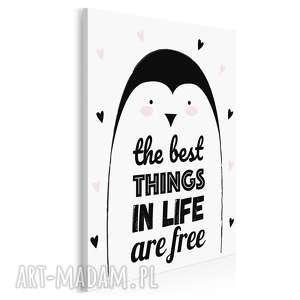 obraz na płótnie - dziecko napis serduszka pingwin 50x70 cm 90908, pingwinek