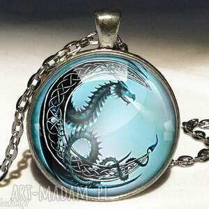 Księżycowy smok - Duży medalion z łańcuszkiem, medalion, duży, księżyc, smok, smoczy