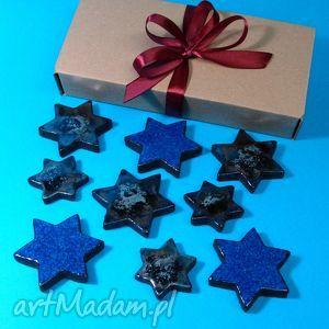 Srebrno-niebieskie ceramika pracownia ako gwiazdki, magnesy