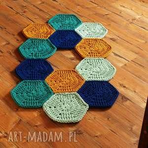dywan plaster miodu hexagon, hygge, szydełkowy, bawełniany, sznurek