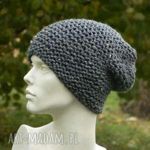 hand made czapki tweed stalowy - na prawo zimowa czapa