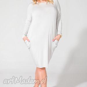 sukienka ps 6 jasnoszary plus size, one sukienka, dzianina, wiskoza, luźna