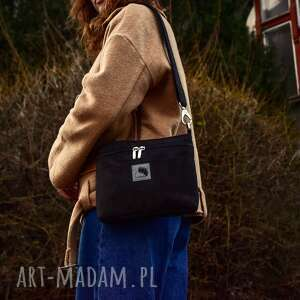hand-made torebki mała czarna torebka na skos z eko zamszu