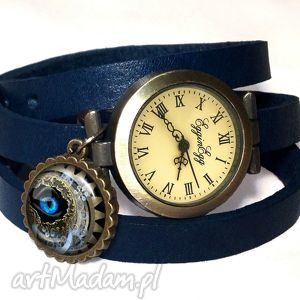 Prezent Steampunk - Zegarek / bransoletka na skórzanym pasku, steampunk, zegarek