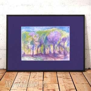 pejzaż obrazek, ręcznie malowany obraz, kolorowy rysunek z krajobrazem