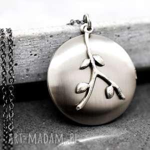 liście medalion ze zdjęciem - łańcuszek, natura, srebro