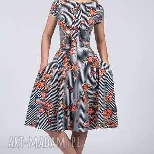 Sukienka CHLOE II Midi Lukrecja, paski, kieszenie, kwiaty, wiązanie, kokardka