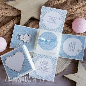 hand-made scrapbooking kartki urocze eksplodujące pudełeczko dla dzieciaczka - narodziny, chrzest