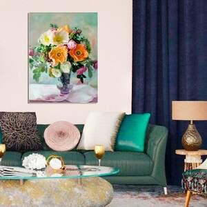 Obrazy kwiaty bukiet w wazonie, 60 x 80, elegancki glamour