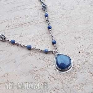 naszyjniki szafirowa kropla - naszyjnik, srebrna biżuteria, naszyjnik srebro