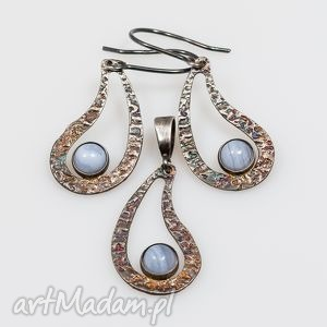 Komplet srebrny z chalcedonem A114 , komplet, srebro, kolczyki, wisiorek