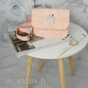 elegancka nerka/kopertówka manzana na każdą okazję pudrowy róż, torebka, nerka