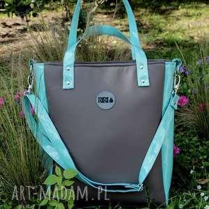 na ramię damska torebka cuboid taupe miętowa, torba-na-ramie, torba-do-pracy