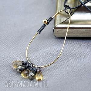 cytrynowy z pirytem, srebro, złoto, cytryny, minimalistyczny, modny, wyjątkowy