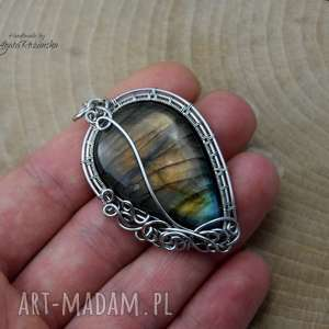 hand-made wisiorki wisiorek labradoryt, wire wrapping, stal chirurgiczna