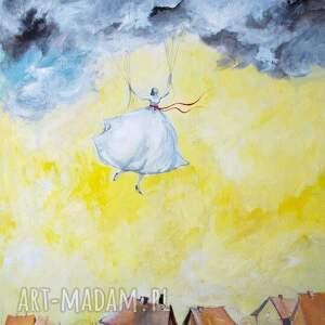idzie na deszcz obraz w 100 bawełnianym płótnie 100x80cm artystki plastyka adriany