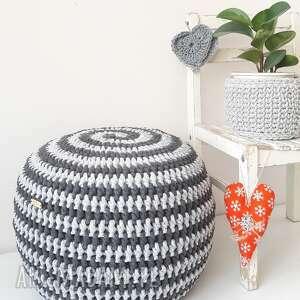 pufa sznurkowa swirl, dwukolorowa, spiralka, zakręcona, siedzisko