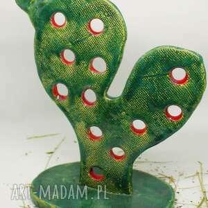 figurka kaktus-opuncja ręcznie robiona handmade wys ok 25 cm, kaktus, ceramiki