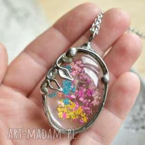 hand-made naszyjniki kolorki - naszyjnik z kwiatem w szkle