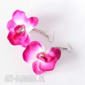 Prezent kolczyki kwiatowe wiosenne storczyki, kwiaty, mama, etno, prezent