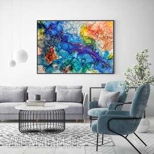 - tęczowa dolina abstrakcja na płótnie, obraz ręcznie malowany, nowoczesny