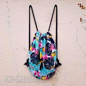 plecak worek xl - ,plecak,worek,tukany,flamingi,wodoodporny,lato,